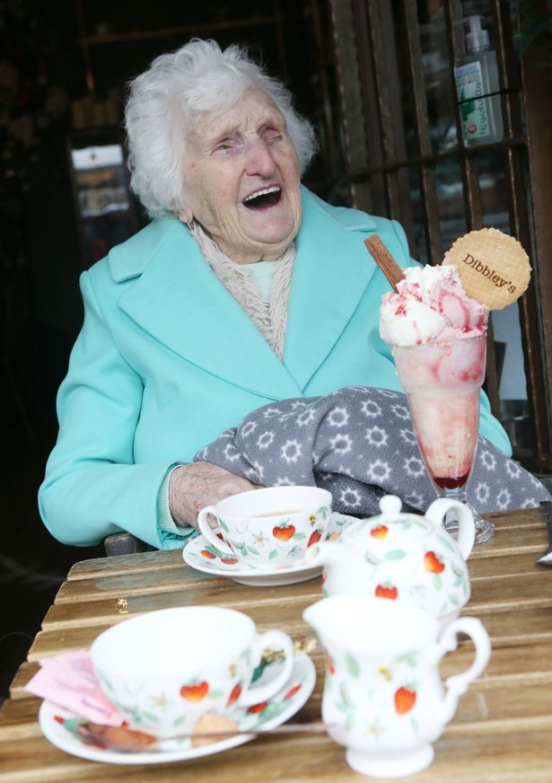 Audrey Chuter (85) enjoys an ice cream at Dibbleys in Tynemouth, on her first day out in a year