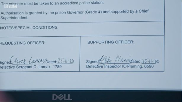The prison paperwork with Kate's forged signature