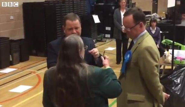 Screengran taken from footage by BBC Newcastle of the moment the Conservatives missed out on gaining control of Northumberland County Council after the final seat came down to the drawing of straws
