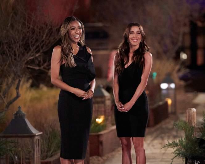 Tayshia Adams and Kaitlyn Bristowe on the set of 'The Bachelorette' night one.