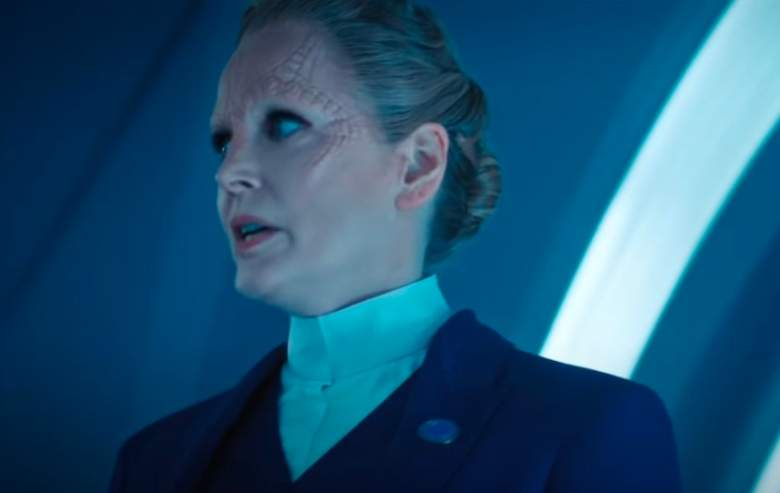 Screenshot from the 'Star Trek: Discovery' season four trailer of a part Cardassian woman